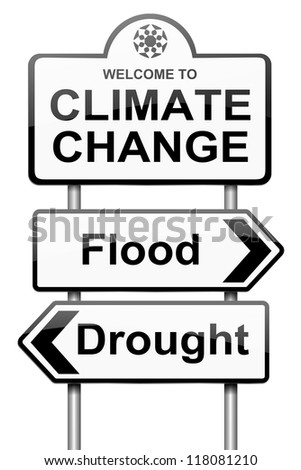 Illustration depicting a roadsign with a climate change concept. White background. - stock photo
