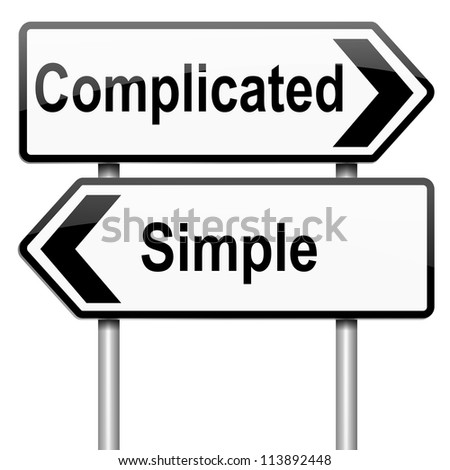 Illustration depicting a roadsign with a complicated or simple concept. White background. - stock photo