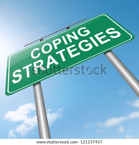 Illustration depicting a roadsign with a coping strategies concept. Sky background.