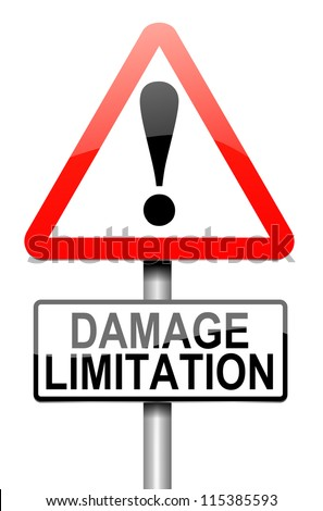 Illustration depicting a roadsign with a damage liability concept. White background.