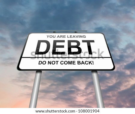 Illustration depicting a roadsign with a debt concept. Sunset and clouds background. - stock photo
