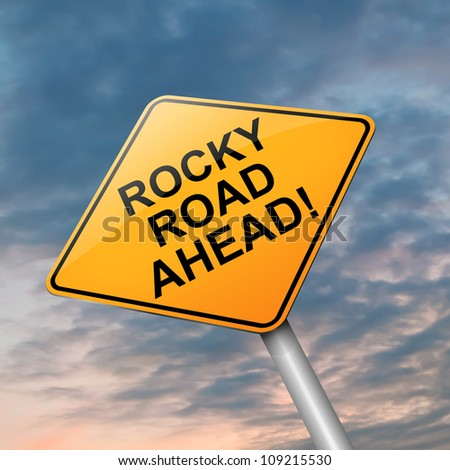 Illustration depicting a roadsign with a difficulty concept. Dramatic sky background. - stock photo