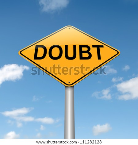 Illustration depicting a roadsign with a doubt concept. Sky  background. - stock photo