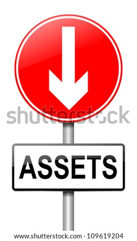Illustration depicting a roadsign with a falling assets concept. White  background.