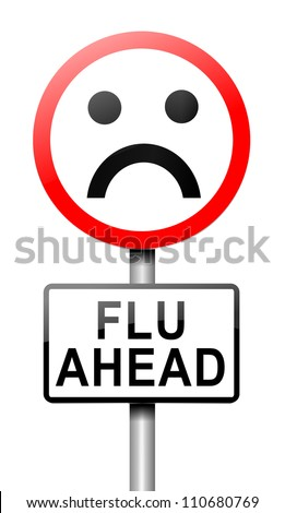 Illustration depicting a roadsign with a flu concept. White background.