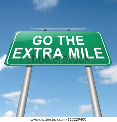 Illustration depicting a roadsign with a 'go the extra mile' concept. Sky background. - stock photo