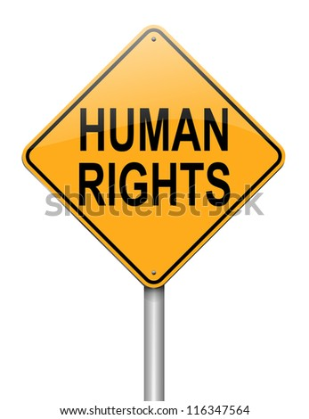 Illustration depicting a roadsign with a human rights concept. White background. - stock photo