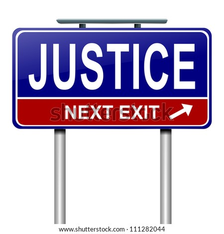 Illustration depicting a roadsign with a justice concept. White background.