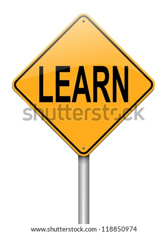 Illustration depicting a roadsign with a learn concept. White background. - stock photo