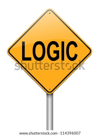 Illustration depicting a roadsign with a logic concept. White background.