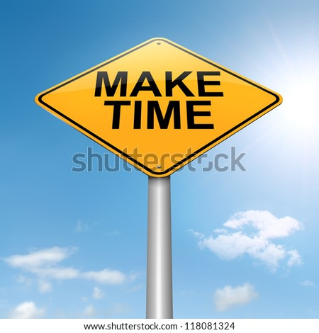 Illustration depicting a roadsign with a make time concept. Sky background. - stock photo