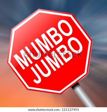Illustration depicting a roadsign with a mumbo jumbo concept. Abstract background.