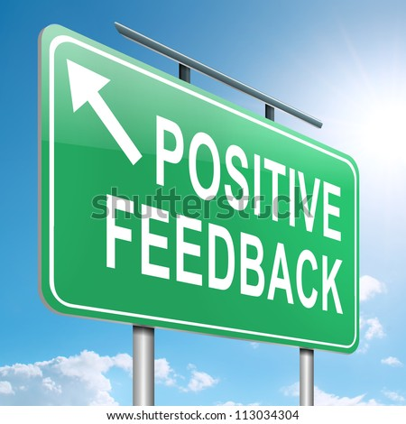 Illustration depicting a roadsign with a positive feedback concept. Sky  background. - stock photo