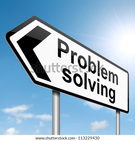 Illustration depicting a roadsign with  'a problem shared' concept. Blue sky background.