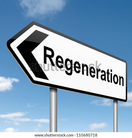 Illustration depicting a roadsign with a regeneration concept. Blue sky background. - stock photo