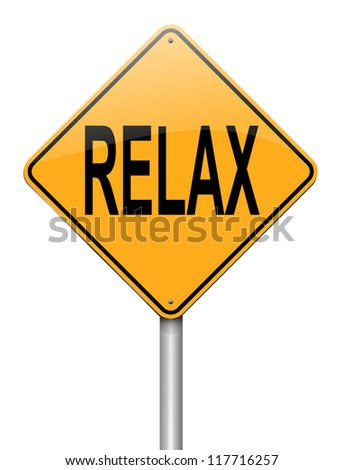 Illustration depicting a roadsign with a relax concept. White background.