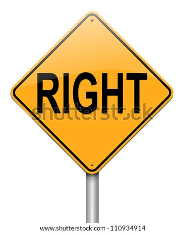 Illustration depicting a roadsign with a right concept. White background.
