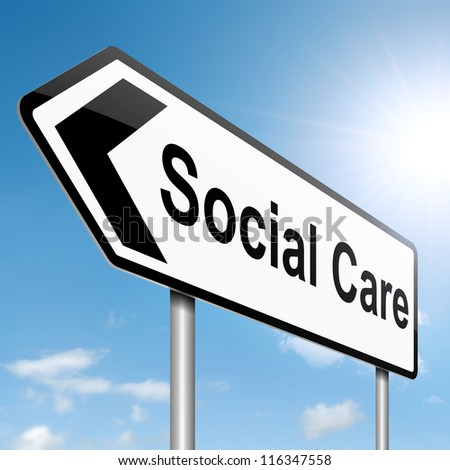 Illustration depicting a roadsign with a social care concept. Sky background.