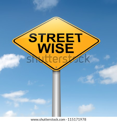 Illustration depicting a roadsign with a streetwise concept. Sky background. - stock photo