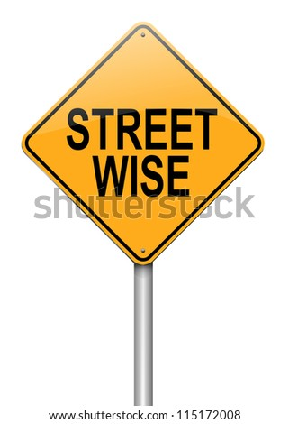 Illustration depicting a roadsign with a streetwise concept. White background. - stock photo