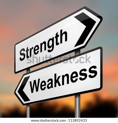 Illustration depicting a roadsign with a strength and weakness concept. Blurred dusk background.