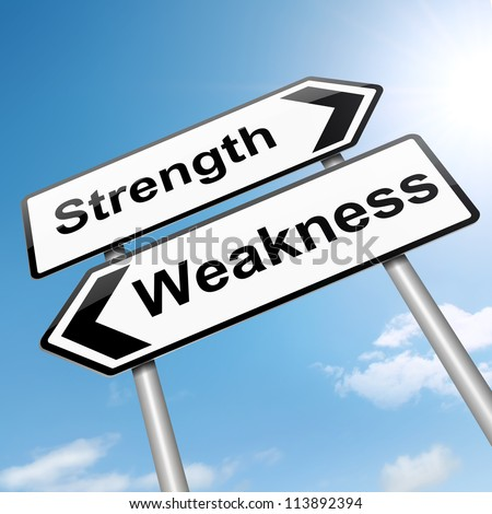 Illustration depicting a roadsign with a strength and weakness concept. Sky background. - stock photo