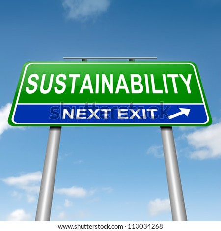 Illustration depicting a roadsign with a sustainability concept. Sky background. - stock photo