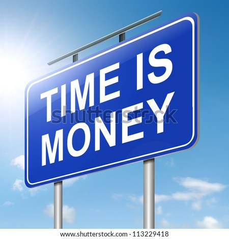 Illustration depicting a roadsign with a time is money concept. Sky background. - stock photo