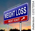 Illustration depicting a roadsign with a weight loss concept. Sunset sky background. - stock photo