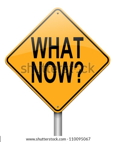 Illustration depicting a roadsign with a 'what now'  concept. White background.
