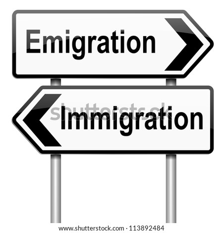 Illustration depicting a roadsign with an emigration or immigration concept. White background.