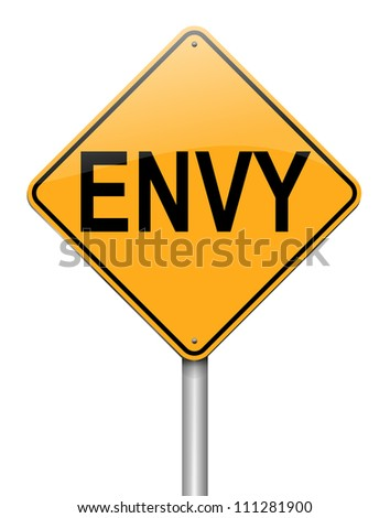 Illustration depicting a roadsign with an envy concept. White background.