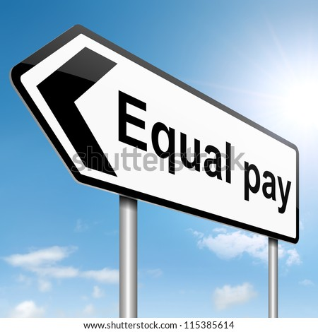 Illustration depicting a roadsign with an equal pay concept. Sky background.