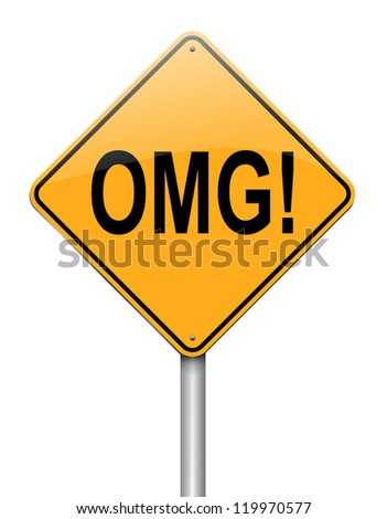 Illustration depicting a roadsign with an omg concept. White background.