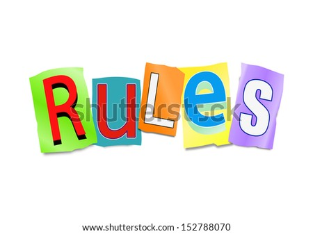 Illustration depicting a set of cut out letters formed to arrange the word rules. - stock photo