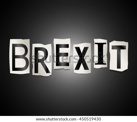 Illustration depicting a set of cut out printed letters arranged to form the word Brexit. - stock photo