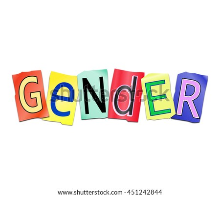 Illustration depicting a set of cut out printed letters arranged to form the word gender. - stock photo