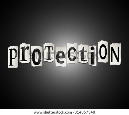 Illustration depicting a set of cut out printed letters arranged to form the word protection. - stock photo