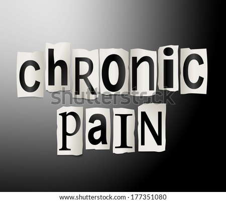 Illustration depicting a set of cut out printed letters arranged to form the words chronic pain. - stock photo