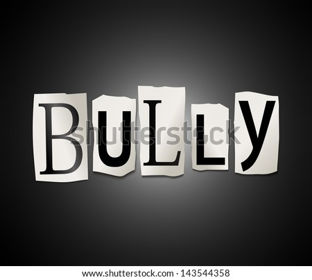 Illustration depicting a set of cut out printed letters formed to arrange the word bully. - stock photo