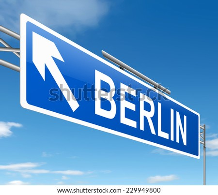 Illustration depicting a sign directing to Berlin. - stock photo