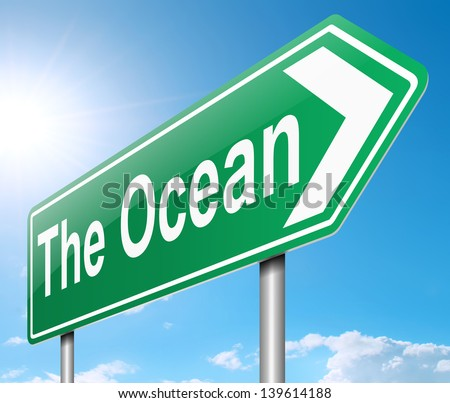 Illustration depicting a sign directing to the ocean.
