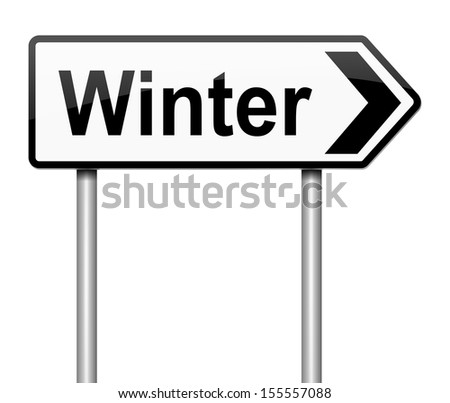 Illustration depicting a sign directing to Winter.