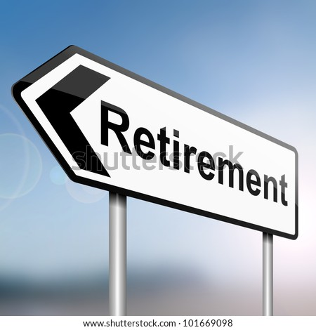 illustration depicting a sign post with directional arrow containing a retirement concept. Blurred background. - stock photo