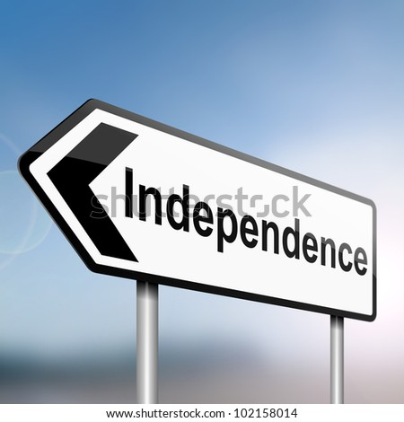 illustration depicting a sign post with directional arrow containing an independence concept. Blurred background. - stock photo