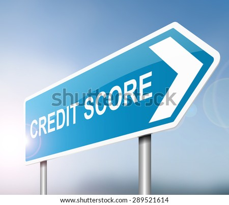 Illustration depicting a sign with a credit score concept. - stock photo