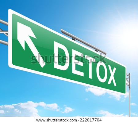Illustration depicting a sign with a detox concept. - stock photo