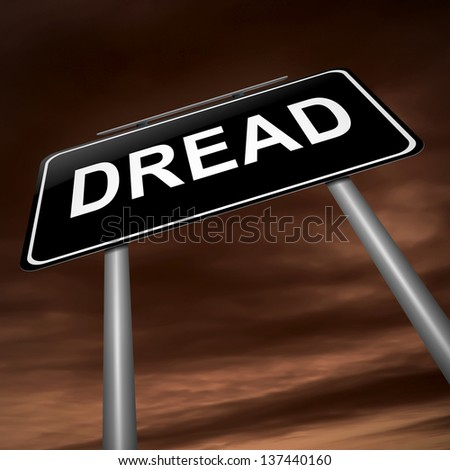 Illustration depicting a sign with a dread concept. - stock photo