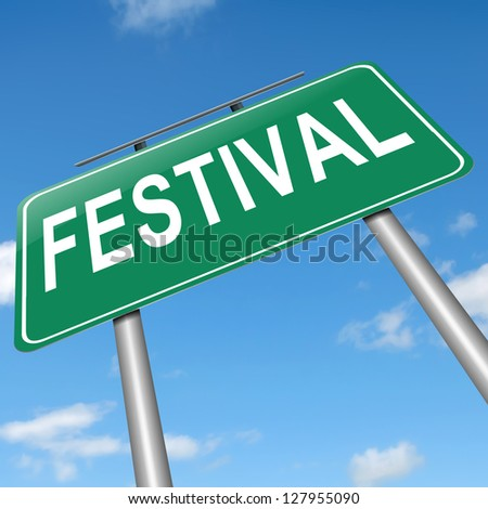 Illustration depicting a sign with a festival concept.