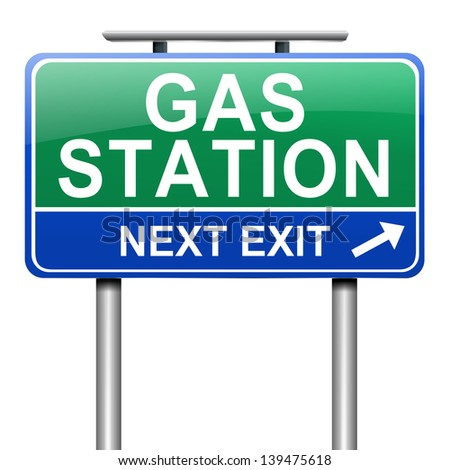 Illustration depicting a sign with a gas station concept.